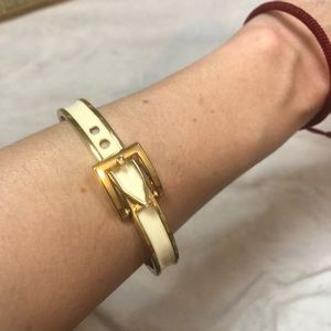 Jewelry - Buckle Belt Bracelet Gold White Arm Candy